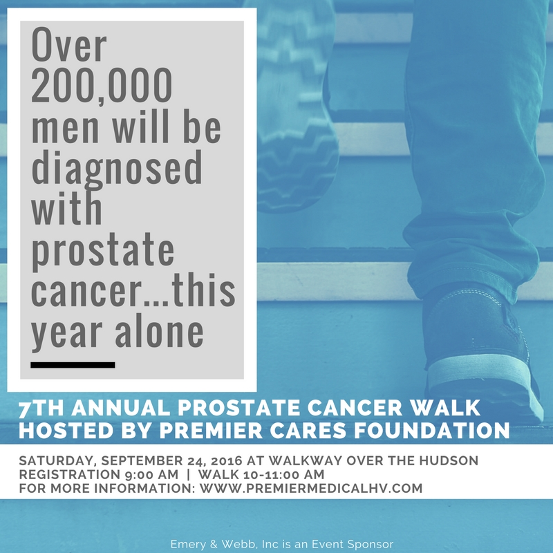 Premier Cares Foundation hosts their 7th Annual Prostate Cancer Walk on September 24, 2016 at the Walkway Over the Hudson