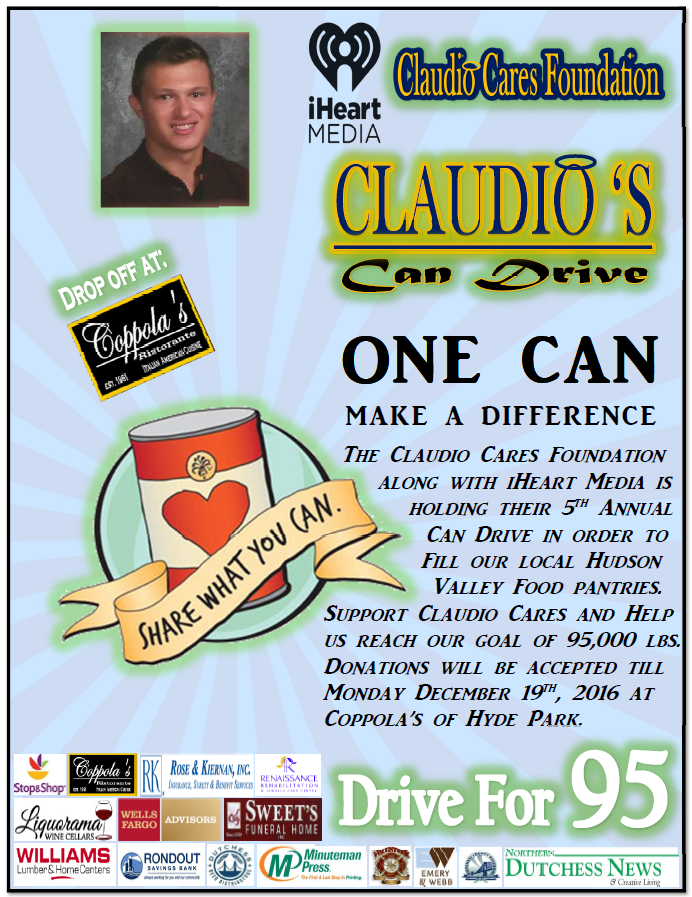 Claudio's Care Drive collects cans to fill Hudson Valley food pantries.